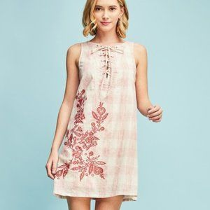 Entro Plaid Embroidered Lace Up Dress